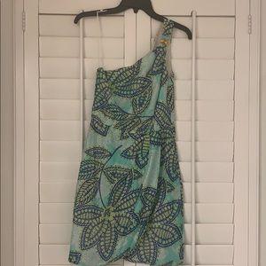 🦄 TRINA TURK Turquoise Floral Off Shoulder Dress